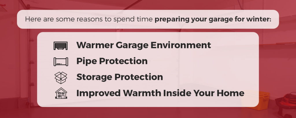 Reasons for preparing your garage for winter - warmer garage environment, pipe protection, storage protection, improved warmth inside your home